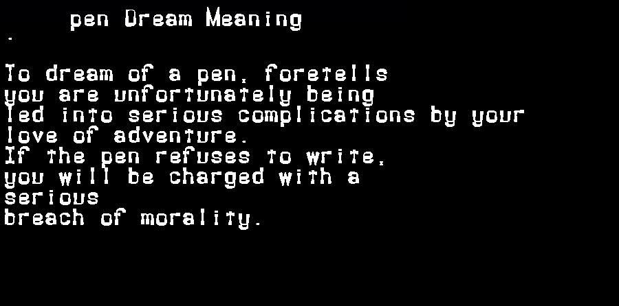 dream meanings pen