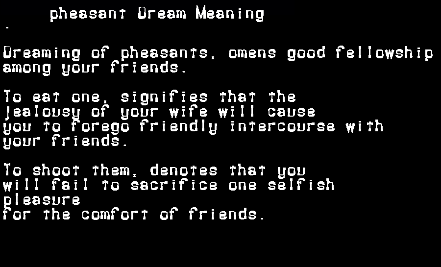 dream meanings pheasant