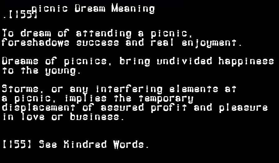 dream meanings picnic