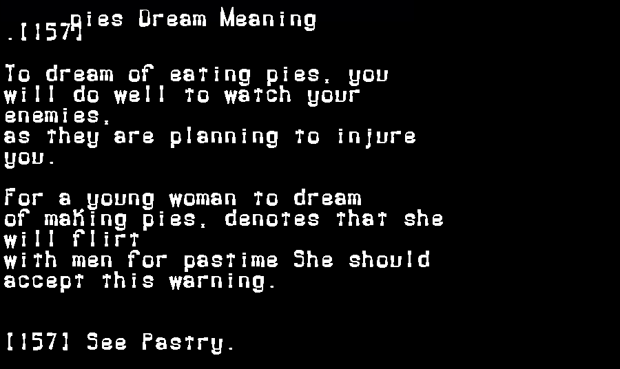 dream meanings pies
