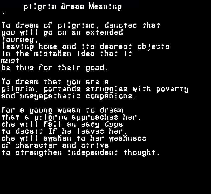 dream meanings pilgrim