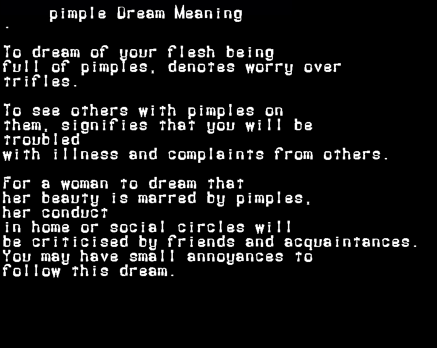 dream meanings pimple