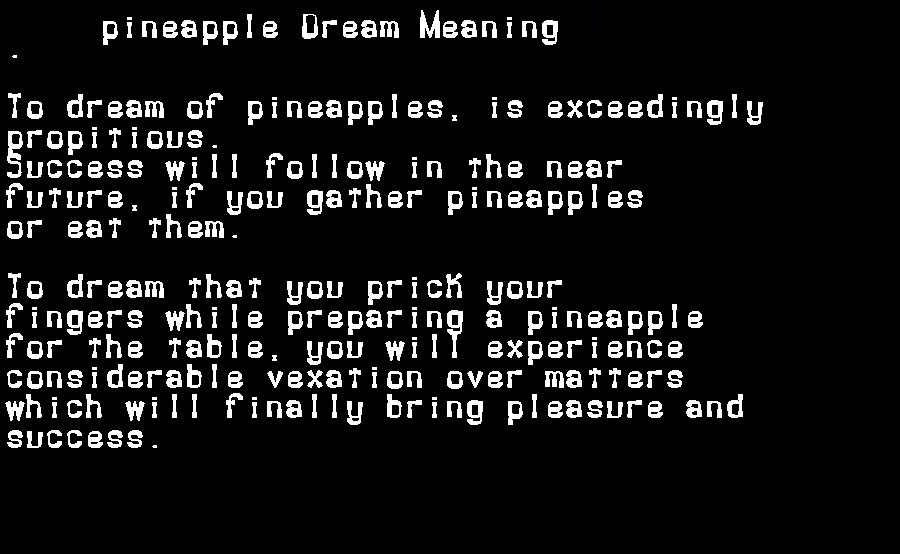 dream meanings pineapple