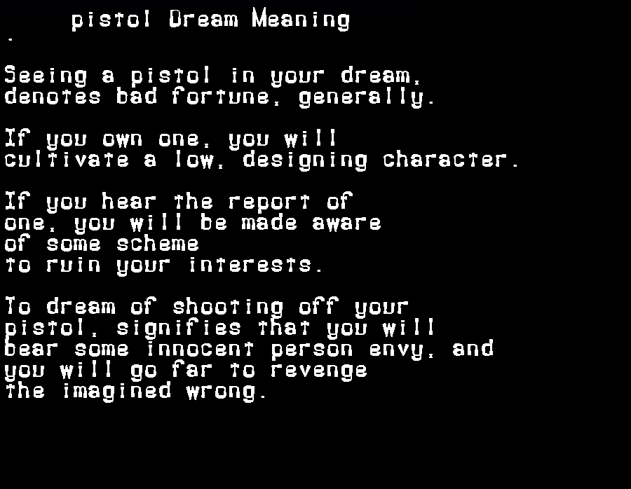 dream meanings pistol