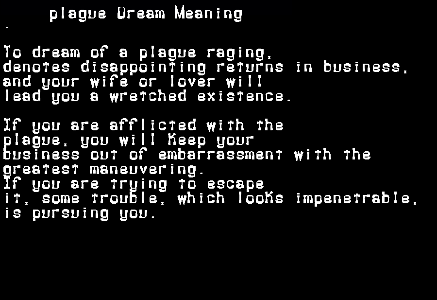 dream meanings plague