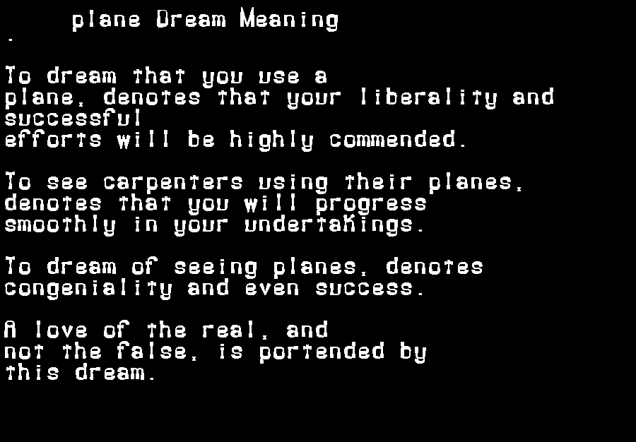 dream meanings plane