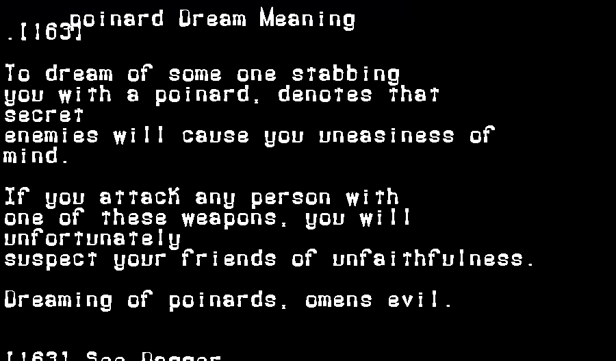 dream meanings poinard