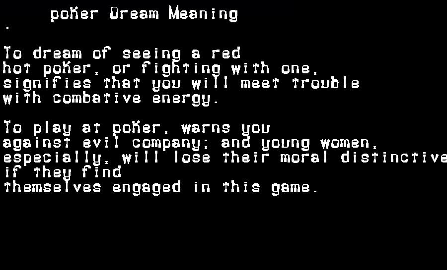 dream meanings poker