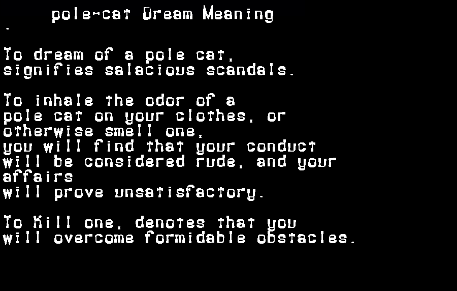 dream meanings pole-cat