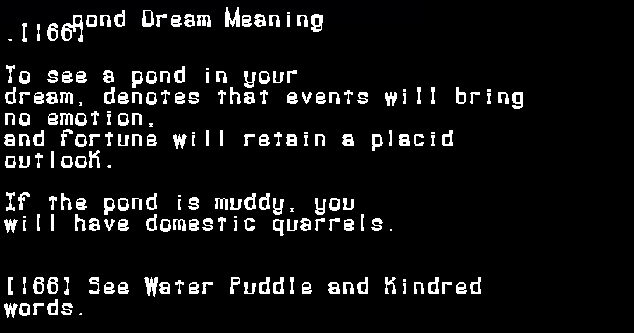 dream meanings pond