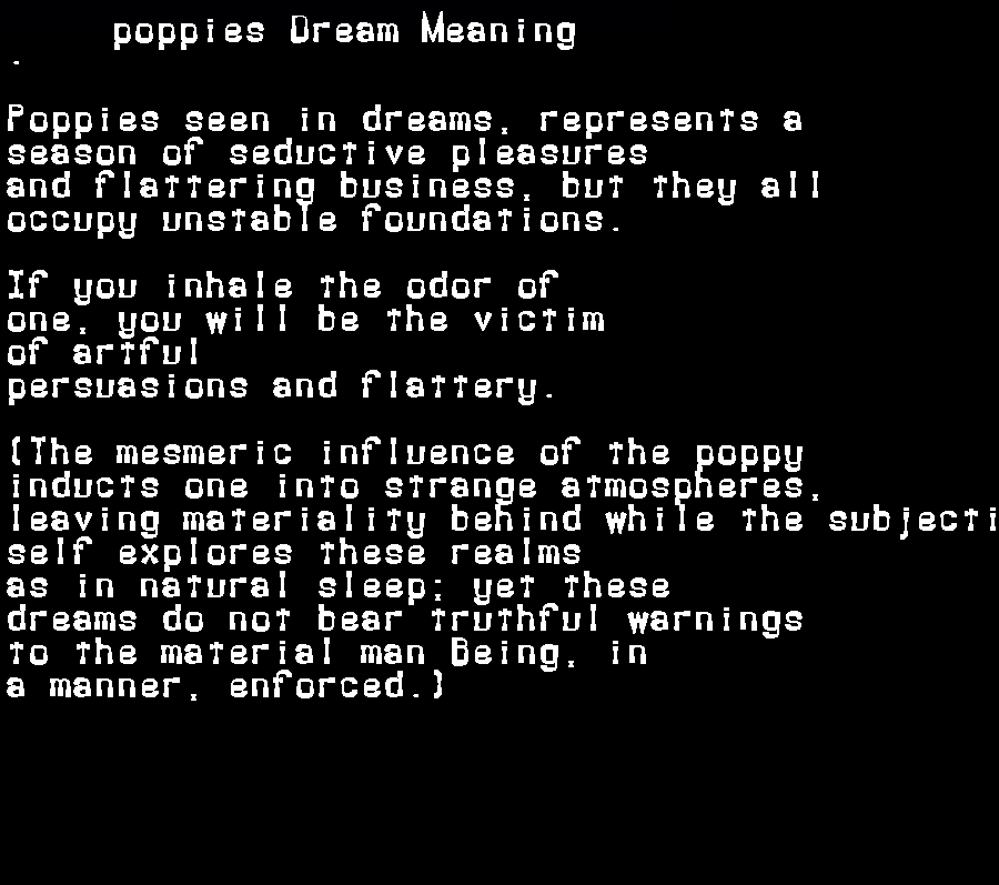 dream meanings poppies