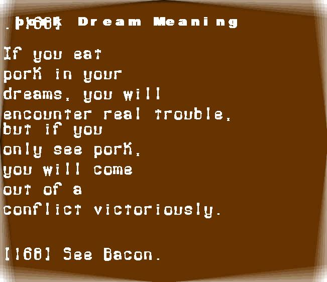 dream meanings pork