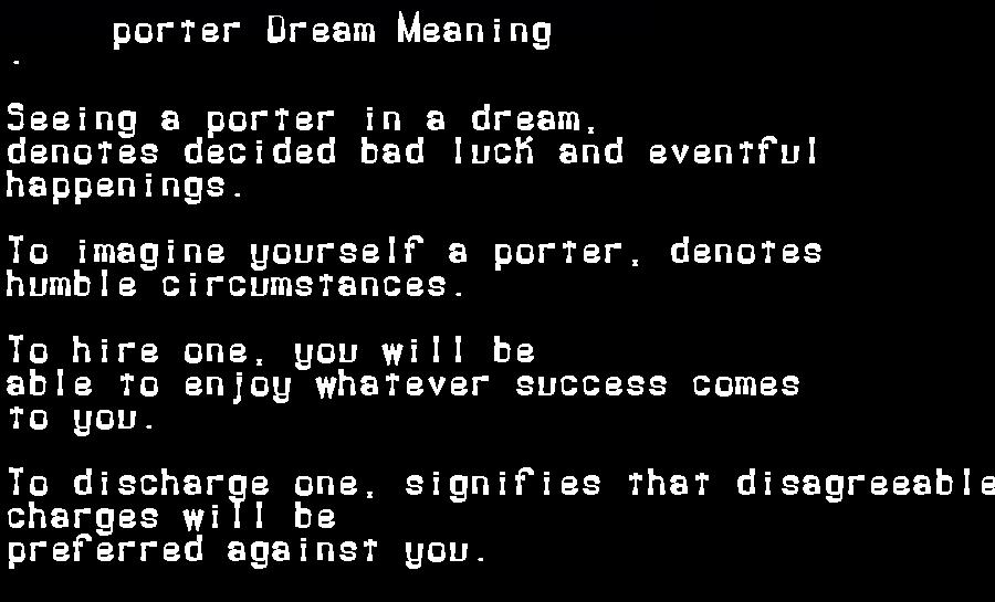 dream meanings porter