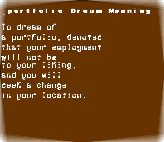 dream meanings portfolio