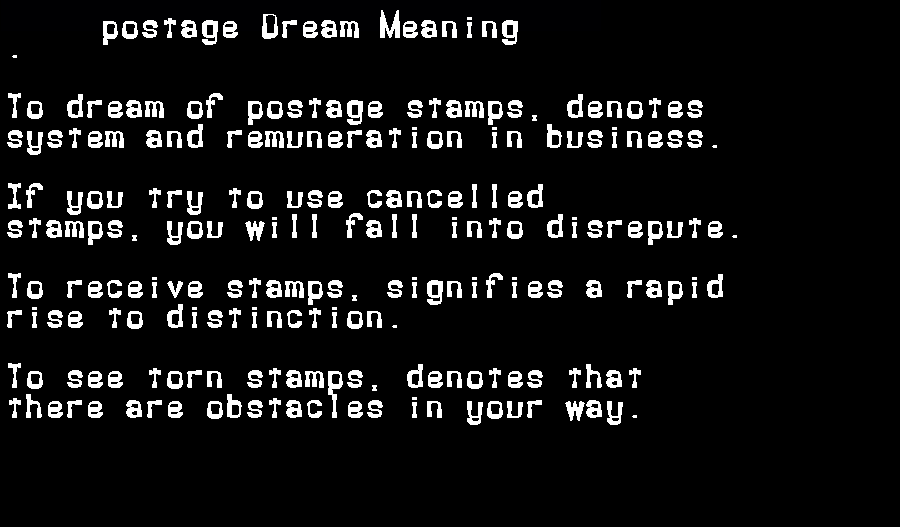 dream meanings postage