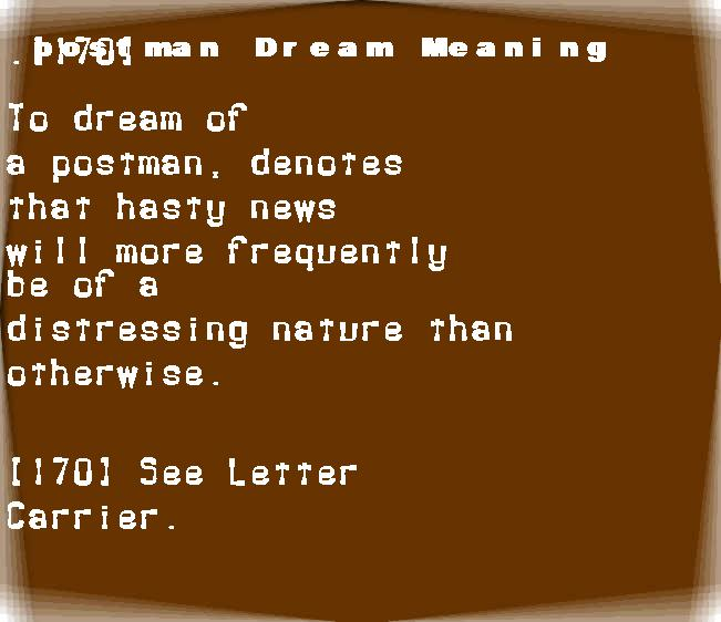 dream meanings postman