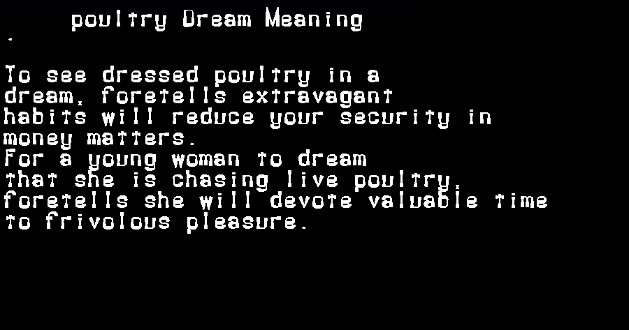 dream meanings poultry