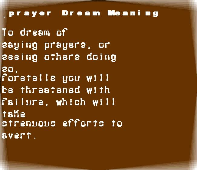 dream meanings prayer