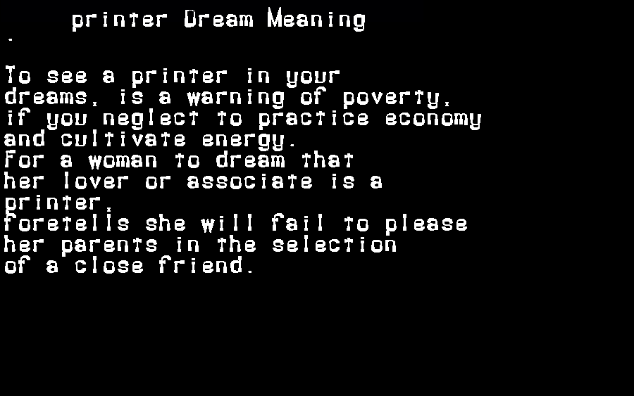 dream meanings printer