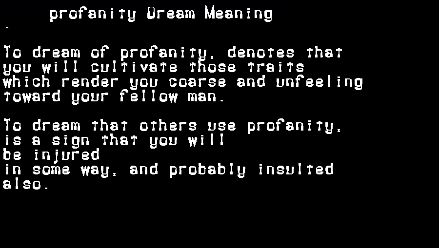 dream meanings profanity