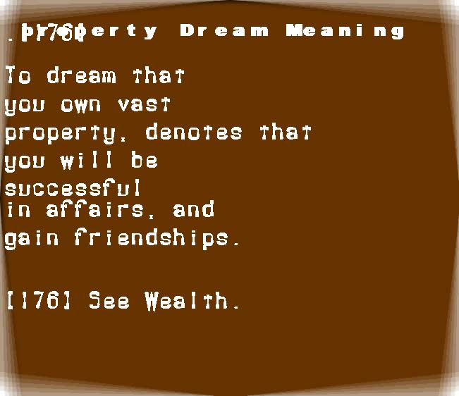 dream meanings property