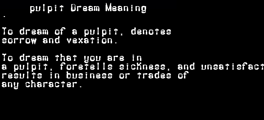 dream meanings pulpit