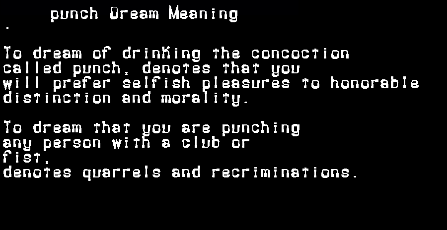 dream meanings punch