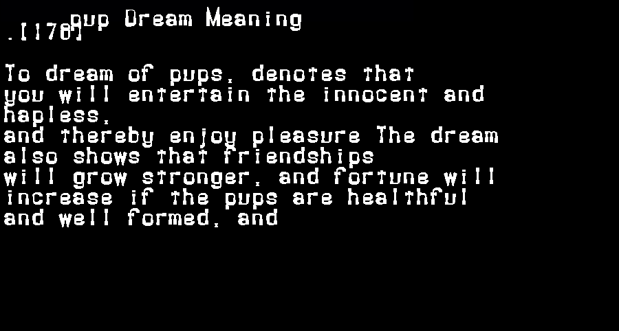 dream meanings pup