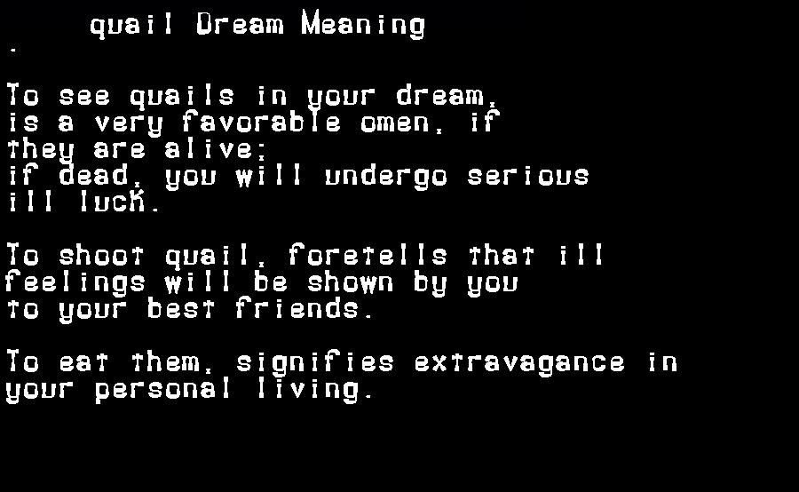 dream meanings quail