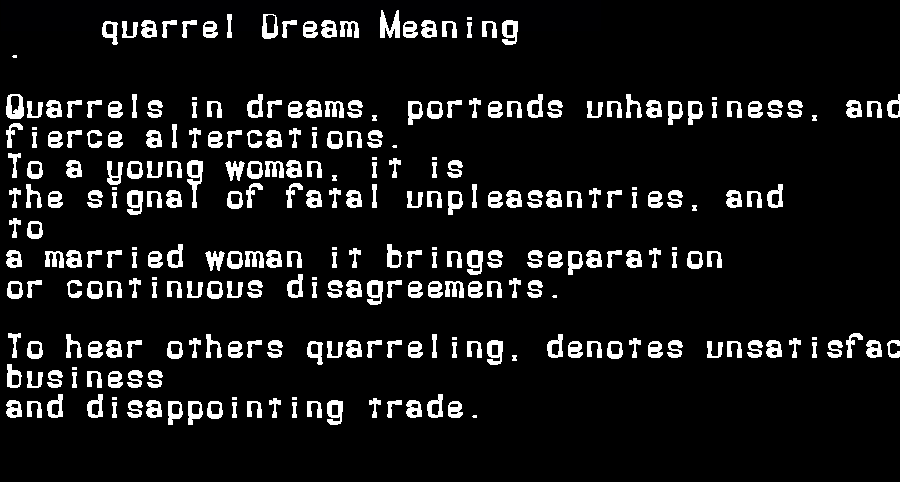 dream meanings quarrel