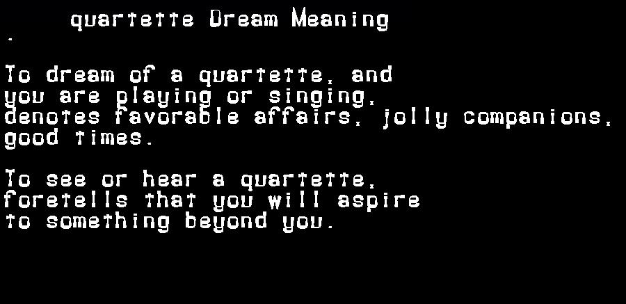 dream meanings quartette