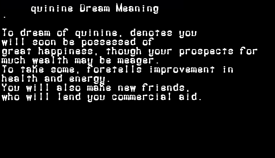 dream meanings quinine