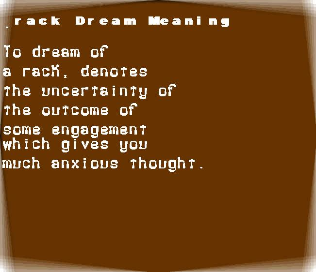 dream meanings rack
