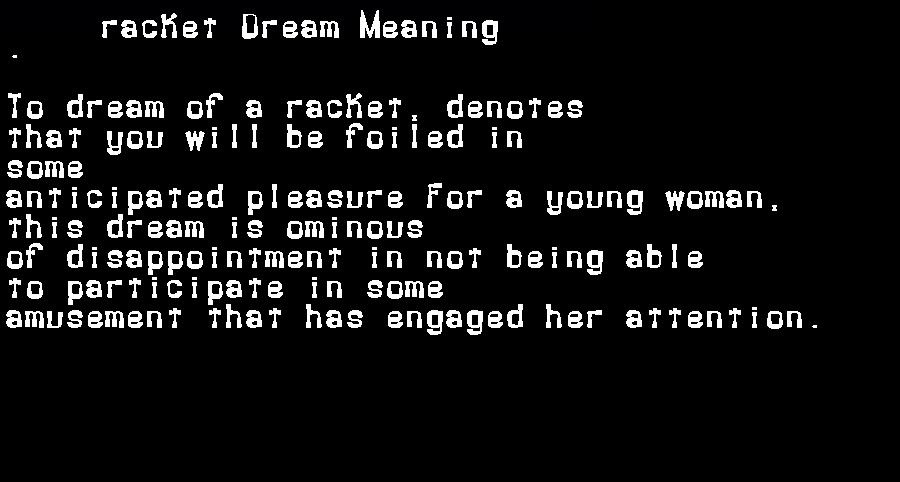 dream meanings racket
