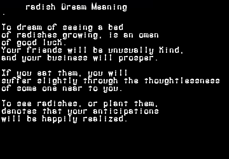 dream meanings radish