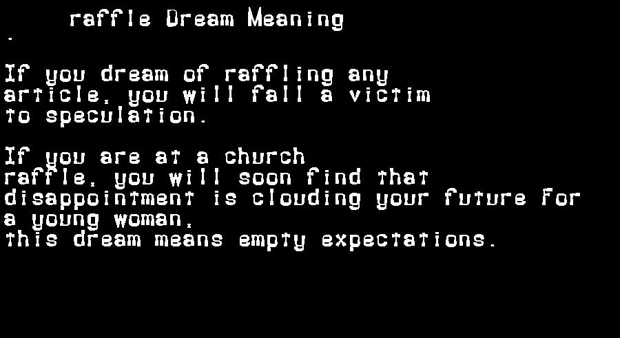 dream meanings raffle