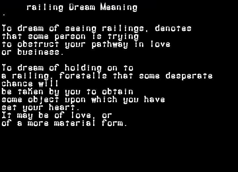 dream meanings railing