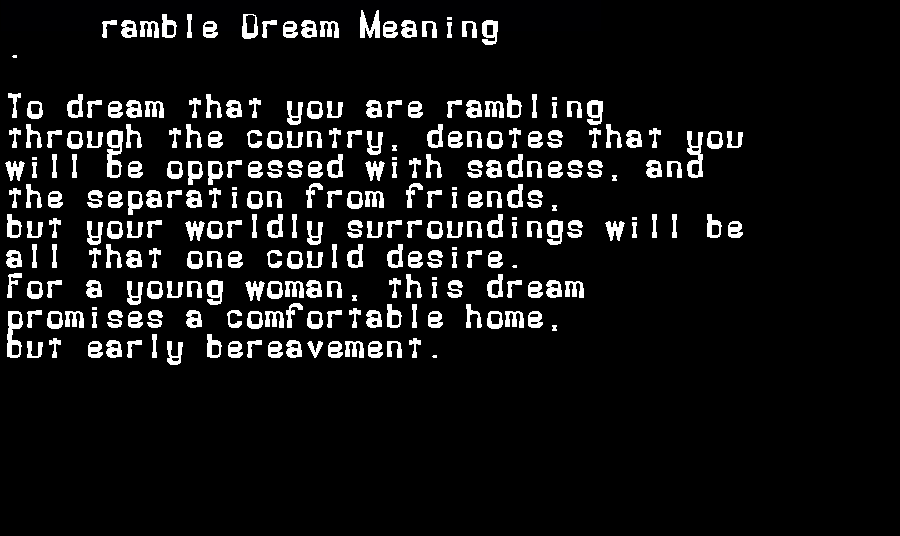 dream meanings ramble