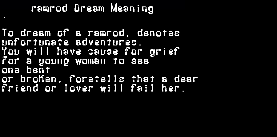 dream meanings ramrod