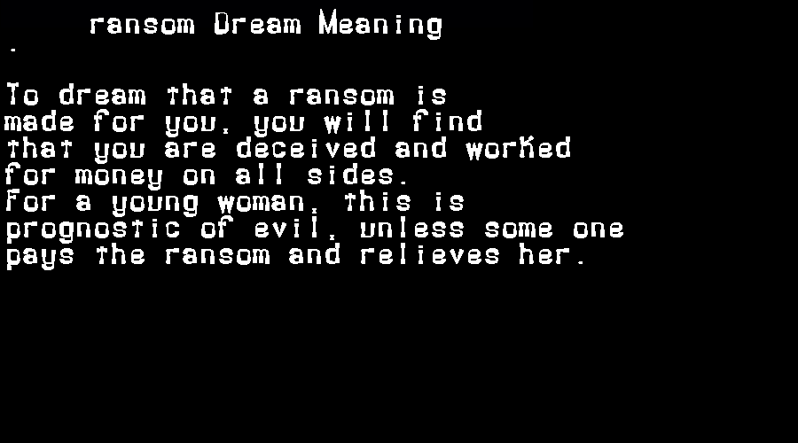 dream meanings ransom