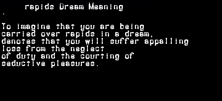 dream meanings rapids