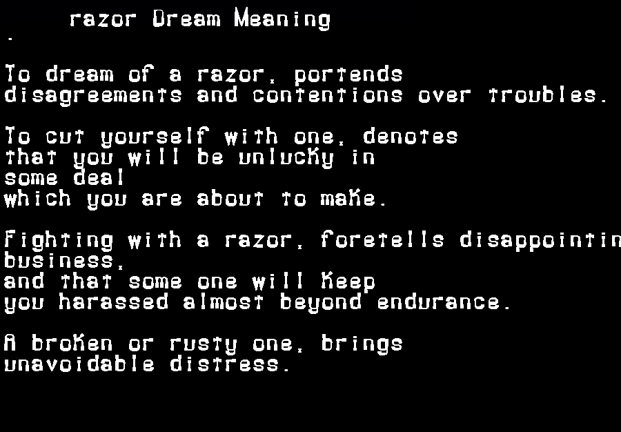 dream meanings razor