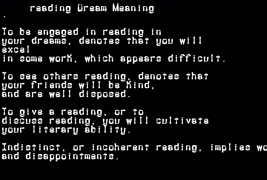 dream meanings reading