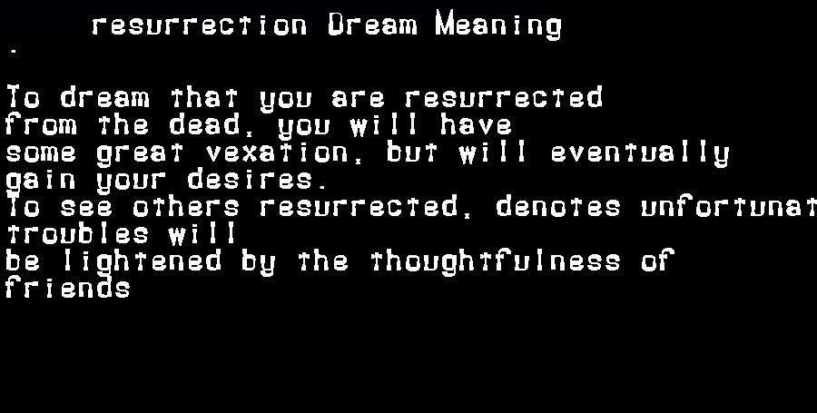 dream meanings resurrection