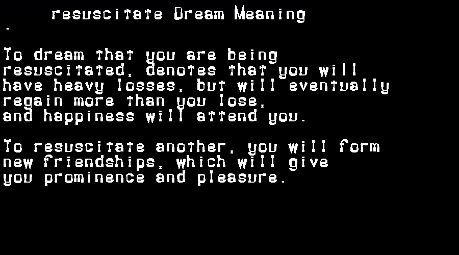 dream meanings resuscitate