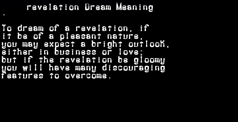 dream meanings revelation