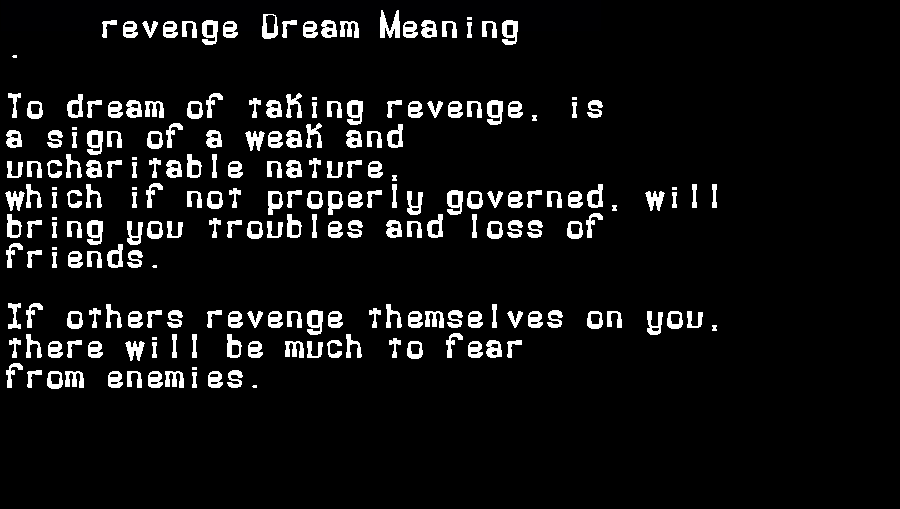 dream meanings revenge