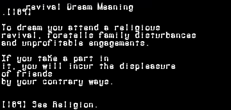 dream meanings revival