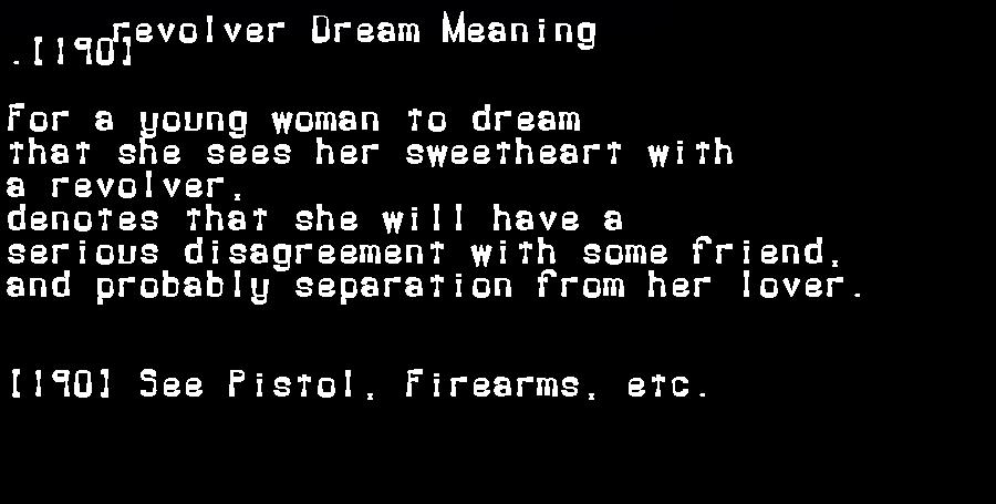 dream meanings revolver