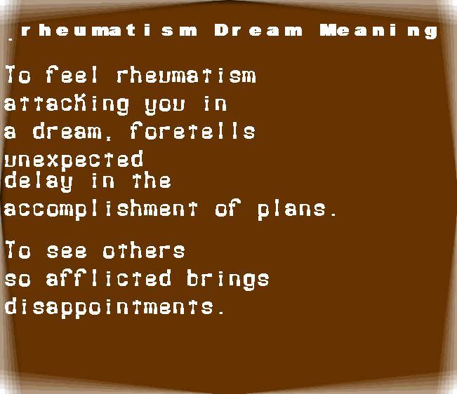 dream meanings rheumatism